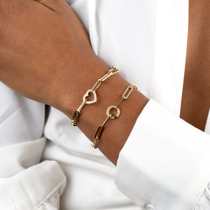 Diamond Clicker Paperclip Bracelet 14K - Adina's Jewels