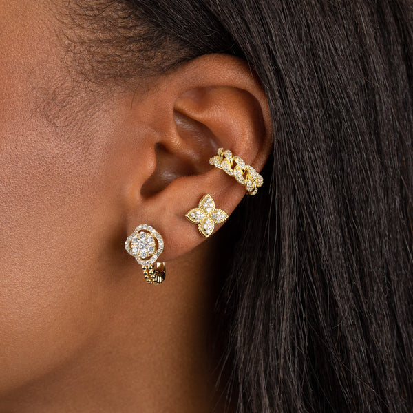 CZ Flower X Beaded Hoop Earring - Adina's Jewels