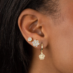 CZ Rose Flower Huggie Earring - Adina's Jewels