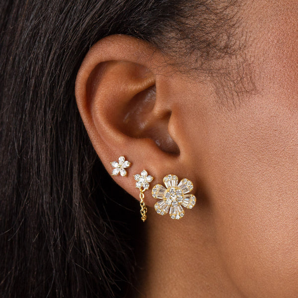 CZ 5 Petal Flower Chain Stud Earring - Adina's Jewels