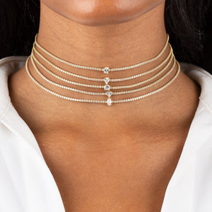 CZ Heart Tennis Choker - Adina's Jewels
