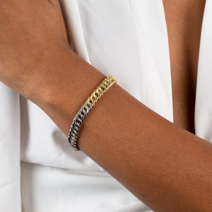 Two Tone Double Curb Bracelet - Adina's Jewels