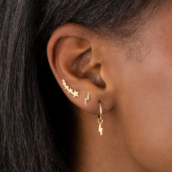 Multi Star Ear Climber Stud Earring 14K - Adina's Jewels