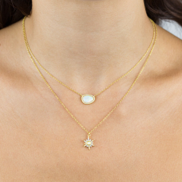 Pavé Opal Charm Necklace - Adina's Jewels