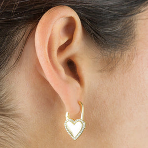 Pavé X Solid Heart Huggie Earring - Adina's Jewels
