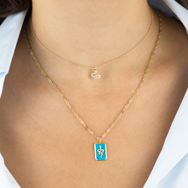 Turquoise Snake Necklace - Adina's Jewels