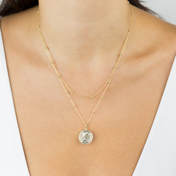 Layered Ball Chain Coin Necklace - Adina's Jewels
