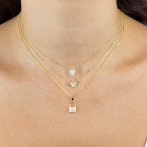 Pavé Tiny Lock Necklace - Adina's Jewels