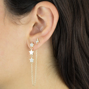 Triple Star Chain Drop Stud Earring - Adina's Jewels
