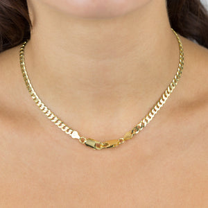 Flat Cuban Curve Chain Necklace - Adina's Jewels