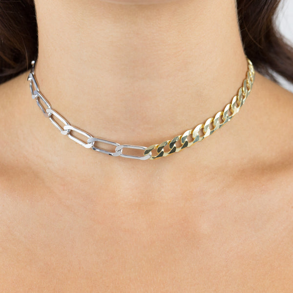 Two Tone Cuban X Twisted Paperclip Necklace - Adina's Jewels