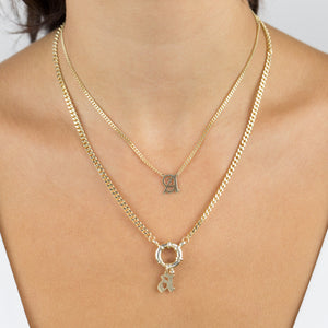 Gothic Initial Toggle Cuban Necklace - Adina's Jewels