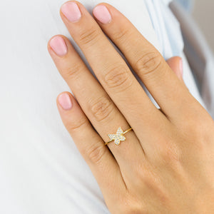 Pavé Dainty Butterfly Ring - Adina's Jewels