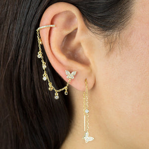 CZ Butterfly Threader Drop Earring - Adina's Jewels