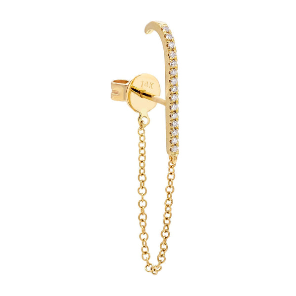 14K Gold / Single Diamond Chain Hook Stud Earring 14K - Adina's Jewels