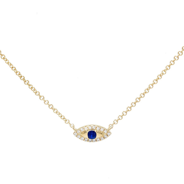 14K Gold Diamond Mini Evil Eye Necklace 14K - Adina's Jewels