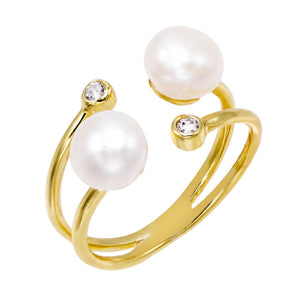 Double Pearl Adjustable Ring Pearl White - Adina's Jewels
