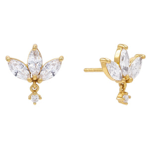 Gold Marquise Dangle Stud Earring - Adina's Jewels