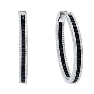 Black Princess Cut Hoop Earring - Adina's Jewels