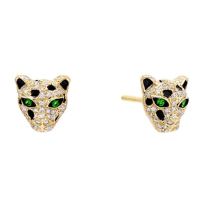 Emerald Green Diamond Emerald Panther Stud Earring 14K - Adina's Jewels