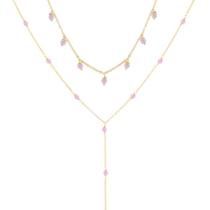 Pastel Pearl Choker X Lariat Combo Set Light Pink - Adina's Jewels
