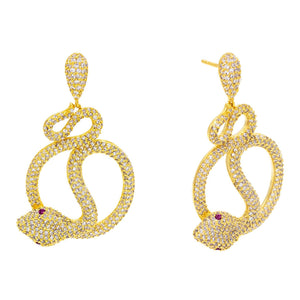 Twisted Snake Stud Earring Gold - Adina's Jewels
