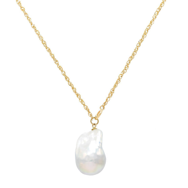 14K Gold Baroque Pearl Necklace 14K - Adina's Jewels