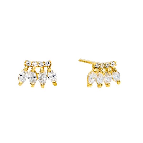 14K Gold / Pair Marquise Bar Stud Earring 14K - Adina's Jewels