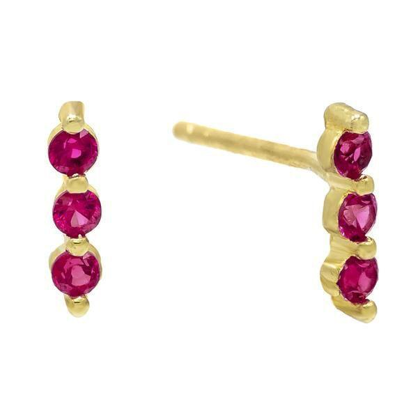 Magenta Triple Bezel Stud Earring - Adina's Jewels