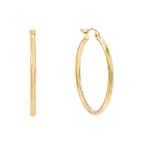 Thin Hoop Earring 14K 14K Gold / 30 MM - Adina's Jewels