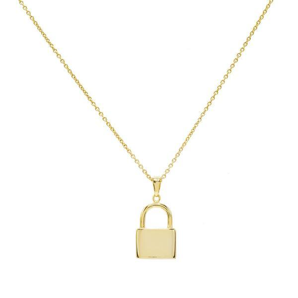Gold Engravable Lock Necklace - Adina's Jewels