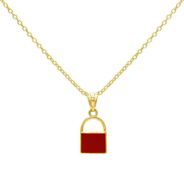 Ruby Red Enamel Lock Necklace - Adina's Jewels