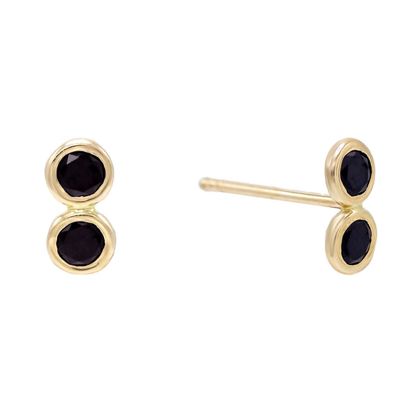 Onyx / Pair Double Bezel Stud Earring 14K - Adina's Jewels