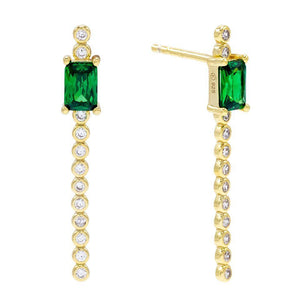 Baguette X Bezel Drop Stud Earring Emerald Green - Adina's Jewels