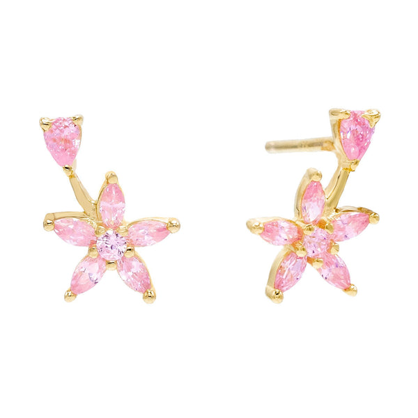 Light Pink Flower Teardrop Stud Earring - Adina's Jewels