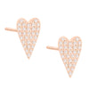 14K Rose Gold / Pair Diamond Long Heart Stud Earring 14K - Adina's Jewels