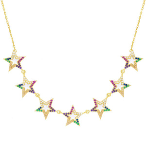 Multi-Color Enamel Star Necklace Multi-Color - Adina's Jewels