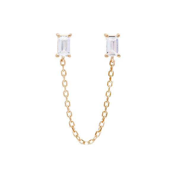 Rose Gold / Single Double Baguette Chain Stud Earring - Adina's Jewels