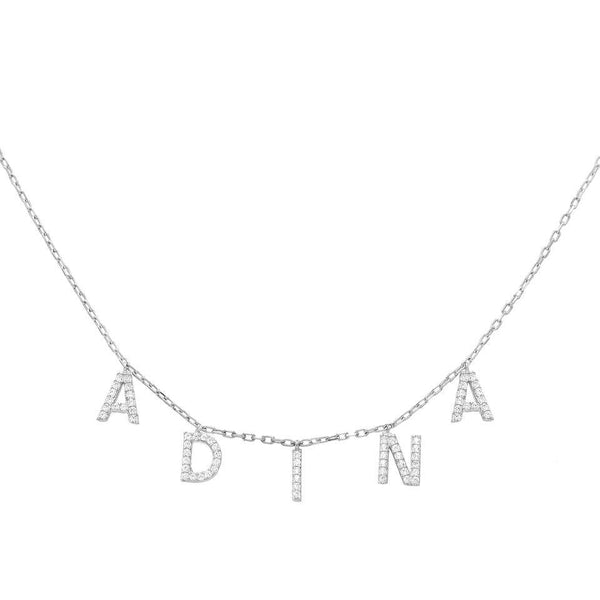 Silver Block Name Necklace - Adina's Jewels