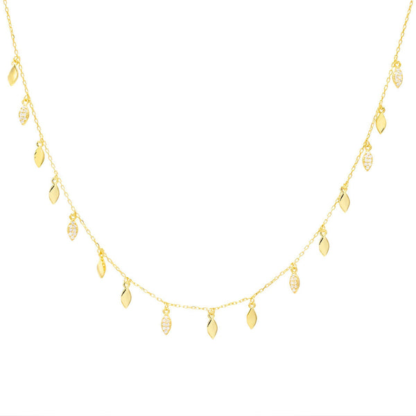 Gold Pavé Leaf Choker - Adina's Jewels