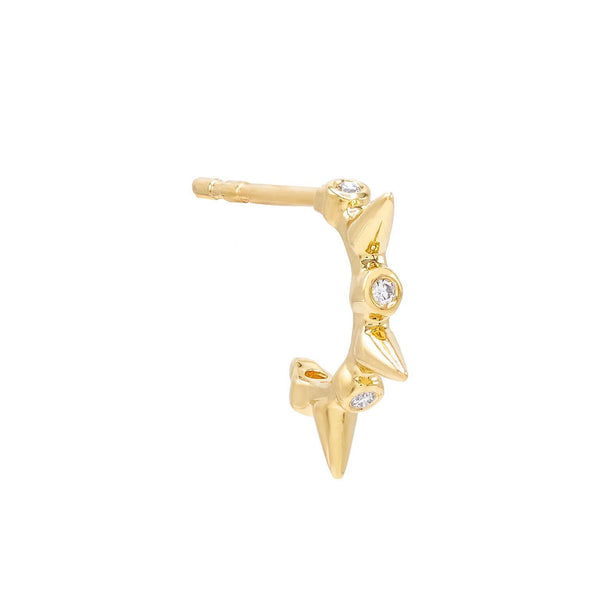 Diamond Bezel Spike Hoop Earring 14K