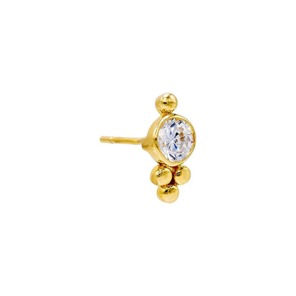 14K Gold / Single Beaded X CZ Stud Earring 14K - Adina's Jewels