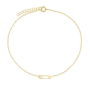CZ Safety Pin Anklet Gold - Adina's Jewels
