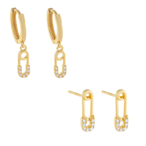 CZ Safety Pin Earring Combo Set Gold - Adina's Jewels