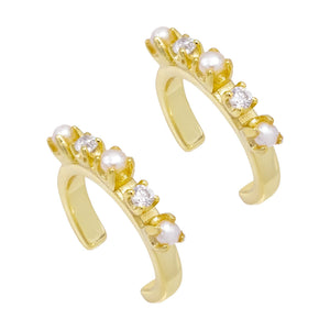 Combo Pearl CZ Ear Cuff Combo Set - Adina's Jewels
