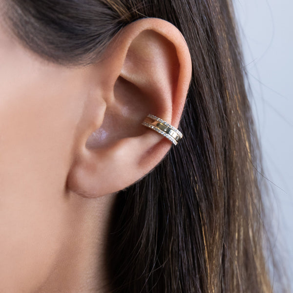 Diamond Double Row Ear Cuff 14K