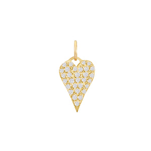Diamond Heart Charm 14K 14K Gold / Small - Adina's Jewels