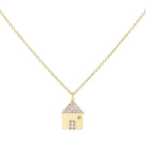 CZ House Necklace Gold - Adina's Jewels