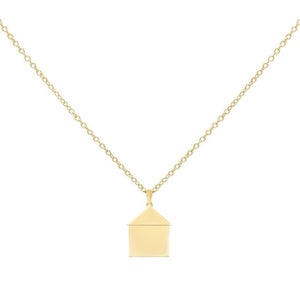 Engraved House Necklace Gold - Adina's Jewels