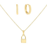 Gold Lock Necklace X Huggie Earring Combo Set - Adina's Jewels